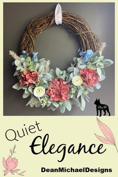 Original by DeanMichaelDesigns. This wreath features pink/coral hydrangeas on a soft bed of lambs ear and frosted boxwood. This wreath will look perfect inside your home as part of any style decor. Or greet your guests with the quiet elegance of this beauty. Crafted on an 18 inch round grapevine. Interior design. Exterior design. Home decor. Fall decorating.