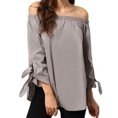 Women Blouses Long Sleeve Off The Shoulder Blouse Fashion Solid Spring Summer Cotton Bow Blouse Shirts Female Tops