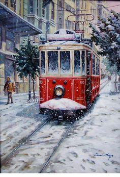 Ömer MuzdanÖmer Muz İle Suluboya streetcar in winter looks like Christ Art Watercolor, Winter Painting, Turkish Art, Winter Scenes, Christmas Art, Oeuvre D'art, Painting Inspiration, Art Drawings, Art Photography