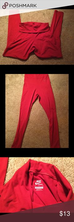 """Nike Yoga Pants Red Nike yoga pants. Top can be folded down or worn high. 29"""" inseam. Size M, but very stretchy and fit small. 41"""" top to bottom, 36"""" if folded down yoga style. Nike Pants Skinny"""