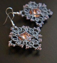 Lace tatting frivolite earrings made of polyester thread and delicate seed beads with a sparkling Rivoli Swarovski, diamond shape Tatting Necklace, Tatting Jewelry, Lace Earrings, Lace Jewelry, Tatting Lace, Bead Jewellery, Crochet Earrings, Silver Earrings, Pearl Earrings