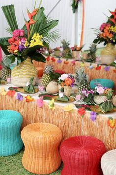 Create a stunning tropical dream by going all out with your luau party decorations. Transport your guests to Hawaii by using lots of bright vibrant colors and as manyhibiscus flowers as you can get your hands on. Decorate your table with beautiful grass skirts for a truly tropical feel. See more party ideas and share yours at CatchMyParty.com Birthday Party Venues, Luau Theme Party, Moana Birthday Party, Luau Birthday, Hawiian Party, Hawaiian Luau Party, Hawaiian Theme, Tropical Party Foods, Luau Food