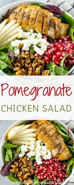 Pomegranate Chicken Salad   Salad Recipes   Pomegranate Recipes   Chicken Recipes   Healthy Dinner Recipes   Healthy Lunch Recipes   Healthy Meal Recipes   Healthy Fitness Meals   #healthyfitnessmeals #pomegranate #chicken #salad #healthy