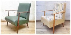Antes y después - Sillón años 50 tela estampado geométrico - Studio Alis Interior Exterior, Accent Chairs, Studio, Furniture, Home Decor, Tela, Kilim Rugs, Geometric Prints, Timber Frames