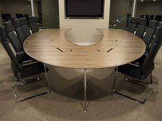 Omega horseshoe-shaped media conference table