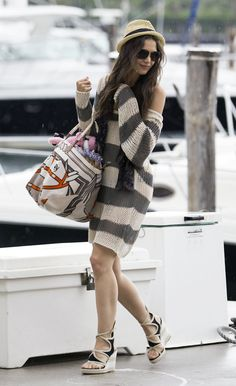 Slouchy, chunky knit striped sweater, versatile for chilly days or the beach