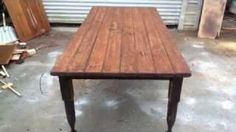How To Build A Distressed Farm Table From An Antique Bed., via YouTube.