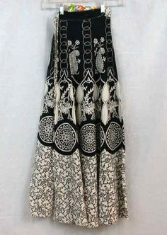 Black and White Wrap Skirt with various designs. Elephants, Birds ...