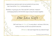One Less Gift - Holiday Gift Exemption Certificate Local Paper, Styling A Buffet, I Appreciate You, Christmas Lights, Christmas Ideas, Holiday Activities, Holiday Traditions, Gift Certificates
