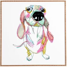 Add a whimsical touch to your decor with this delightful print, showcasing a sustainable bamboo frame and colorful dachshund motif.Product: Framed wall ar...