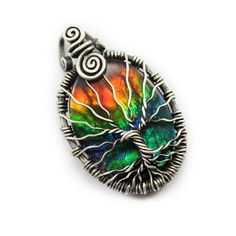 Rare Ammolite tree of life pendant, handcrafted jewelry, 925 sterling silver Ammolite