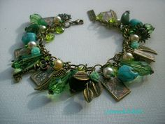 Tarot Cards Vintage Picture Green Charm Bracelet by cosmictrinkets, $39.99