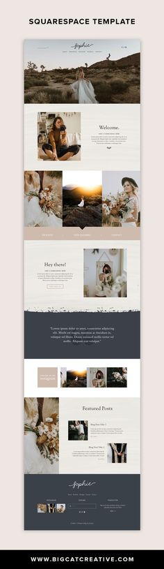 The Sophie Squarespace Template Kit is a rustic and romantic website kit with a classic layout. It has been designed with photographers, designers, or other creative business types in mind. Website Design Inspiration, Simple Website Design, Website Design Layout, Layout Inspiration, Website Ideas, Website Styles, Web Layout, Layout Design, Design Web
