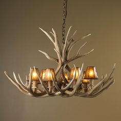 Authentic 8 Light Deer Antler Chandelier