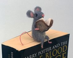Animal bookmark reading book Felt dog Back to school by CozyMilArt