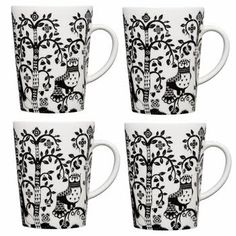 iittala Taika White / Black Mug - Set of 4 Fanciful characters and exceptional natural elements make up the basis of design for Taika. The energetic design features a stream of mythical creatures as well as fascinating and meticulous detail. Magnolia, Ceramic Cafe, Marimekko, Mugs Set, Mythical Creatures, Hygge, Decorative Accessories, Coffee Mugs, Objects