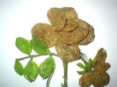 French Beaded Flowers Handmade Vintage by RemindersOfThePast, $25.00