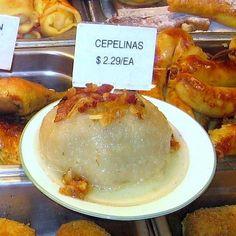 Try Lithuanian Potato Meat Dumplings in Bacon Gravy: Lithuanian Cepelinai Dumpling at Racine Bakery in Chicago
