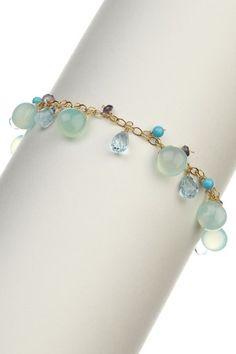 14K Yellow Gold Chalcedony, Blue Topaz & Turquoise Charm Bracelet