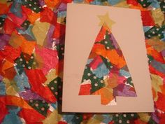 aluminum and tissue paper Christmas cards - cute for the kids to make