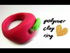<3 Polymer Clay Ring, Polymer Clay Projects, Clay Crafts, Diy Clay Rings, Clay Angel, Apple Rings, Clay Videos, How To Make Clay, Ring Tutorial