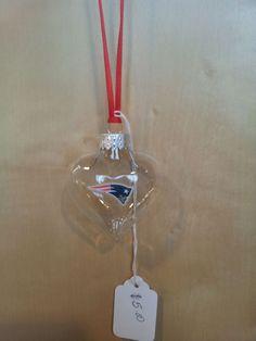 New England Patriots Heart handmade glass Christmas ornament