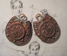 2 Older Vintage Brass Horse Shoe Charm Findings by StarPower99, $4.60