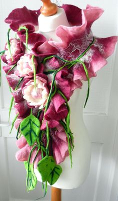 Felted, Wool Jewelry felted woman ART scarf  ,shawl- PEONIES -