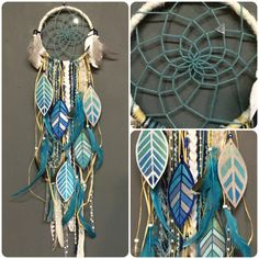 My indigo obsession continues with this dreamcatcher that measures approx. 6 in diameter x 24 long and features:    ✦ white hoop with turquoise