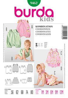 Burda 9462 Baby Jumpsuit, Panties, and Dress sewing pattern