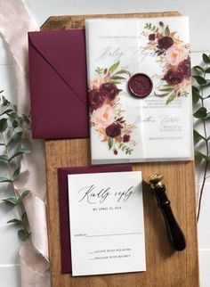 a2cada2744ec Burgundy Floral Vellum Wedding Invitation Marsala and Blush