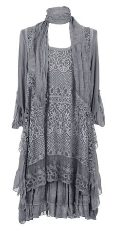 Ladies Womens Italian Lagenlook Quirky Layering 3 Piece Sequin Crochet Lace Long Sleeves Scarf Tunic Top Dress One Size Plus UK 12-16 (One Size Plus, Beige): Amazon.co.uk: Clothing