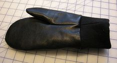 Recycle an old leather skirt into warm winter mittens.