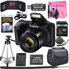 Canon Powershot IS 20 MP Wi-Fi Digital Camera with Zoom (Black) Includes: Canon Battery and Canon Charger Deluxe Accessory Kit w/Camera Works Cloth and Cleaning Solution -- Continue to the product at the image link. (This is an affiliate link) Cannon Camera, Canon Powershot, Cleaning Solutions, Travel Photography, Photography Camera, Travel Essentials, Wifi, Traveling By Yourself, Charger
