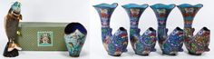 Lot 488: Asian Cloisonne Fish Vases; Six contemporary items including a fish form vase in an original box with a wooden stand and an abstract shaped vase with octopus and swordfish motifs together with four fish form vases
