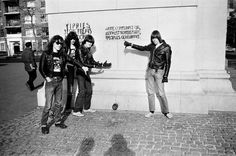 'The Ramones react to pro-communist grafitti in Washington DC' photo by Danny Fields, 1976 • via: My Ramones, Danny Fields Lifts The Lid On Managing The Ramones