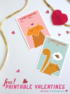 FREE printable woodland critter classroom valentines for kids | tinyinklings.com #valentine #diy