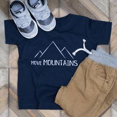 Hip graphic tee for toddlers. Move mountains.     If you have faith you can move mountains. Matthew 17:20    Toddler Boy Fashion