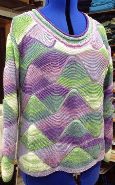 Patchwork stricken und mehr : Der gefällt mir richtig gut :-) Knitted Blankets, Knitting Stitches, Color Combinations, Crochet Top, Knitting Patterns, Cotton, Handmade, Tops, Fashion
