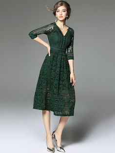 Myriad of possibilities green lace dress