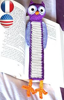 Crocheted coton owl Bookmark Tutorial pattern