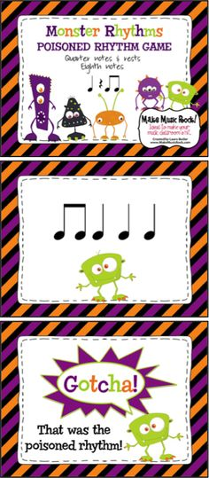 Make Music Rock!: Monster Poisoned Rhythm Game. Students will enjoy trying to outwit the monsters and avoid the poisoned rhythm while they hone their rhythmic reading and playing skills.
