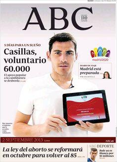 Los Titulares y Portadas de Noticias Destacadas Españolas del 2 de Septiembre de 2013 del Diario ABC ¿Que le pareció esta Portada de este Diario Español?