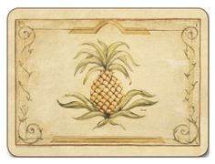 "Jason Majestic Pineapple Placemats - Set of 4 (Large) by Jason. $39.85. Hardboard, Cork backed. Single image design. Gift Boxed. Durable, heat sealed surface. Size: 17"" x 11.5"". Heat resistant to 225ºF. Attractive top quality placemats by Jason of New Zealand. The hardboard and cork is sourced from renewable resources. The edges are heat sealed, the surface is smooth and the cork backing will protect your table. Just wipe clean with a damp cloth."