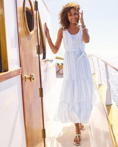 This sleeveless maxi dress features breathable linen, a fashionable maxi length, a tiered skirt, and light blue stripes. So nautical! | Talbots Summer Outfits Classic Style Women, Summer Clothing, Striped Linen, Summer Collection, Blue Stripes, Talbots, Nautical, Light Blue, Scoop Neck