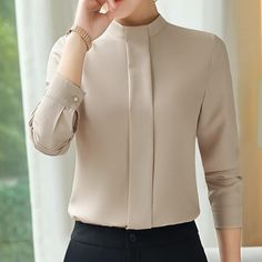 Elegant chiffon blouses women autumn New OL professional fashion clothes long sleeve slim shirt office ladies plus size top - Work Outfits Women Blouse Styles, Blouse Designs, Formal Tops For Women, Office Outfits Women, Office Clothes Women, Office Style Women, Outfit Office, Office Uniform, Work Outfits