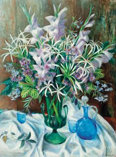 Still Life with Blue Jug - Olley, Margaret Hannah (Australian, 1923 - Fine Art Reproductions, Oil Painting Reproductions - Art for Sale at Galerie Dada Australian Painting, Australian Artists, Fruit Painting, Garden Painting, Australian Flowers, Visual And Performing Arts, Oil Painting Reproductions, Flower Art, Flower Vases