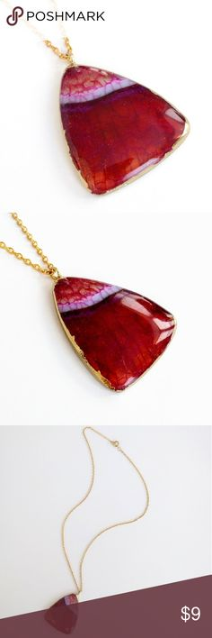 """Gold-plated polished fire agate pendant necklace Natural beauty burns in this incredible stone!  Gorgeous colors and striations are perfectly accented by gold plating and a smooth feel...Sure to attract loads of attention and compliments!  Nickel and lead free; chain measures about 19.5"""" long.  PRICE IS FIRM and extremely reasonable, but click """"add to bundle"""" to save 10% on your purchase of 2+ items! Jewelry Necklaces"""