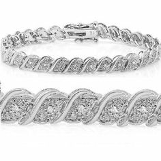 Diamond Tennis Bracelet crafted in Sterling Silver 7 Jewelry Box, Jewelery, Jewelry Watches, Jewelry Accessories, Ankle Bracelets, Bangles, Bracelet Crafts, Silver Diamonds, Jewellery Display