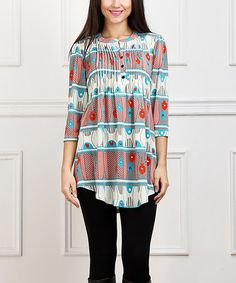 Look what I found on #zulily! Turquoise & Red Abstract Notch Neck Tunic #zulilyfinds